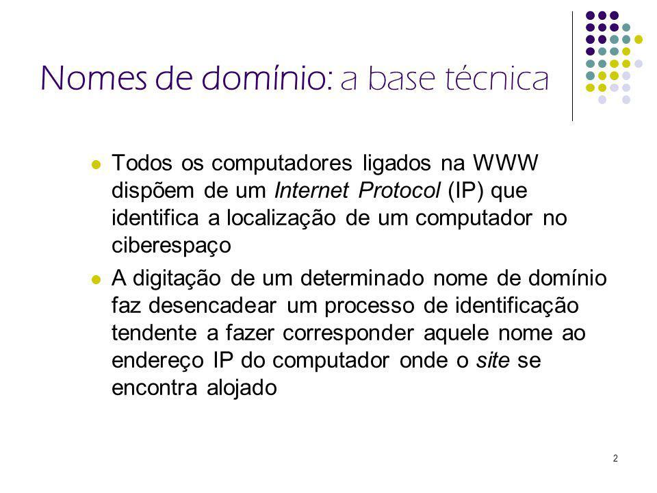 2 Nomes de domínio: a base técnica Todos os computadores ligados na WWW dispõem de um Internet Protocol (IP) que identifica a localização de um computador no ciberespaço A digitação de um determinado nome de domínio faz desencadear um processo de identificação tendente a fazer corresponder aquele nome ao endereço IP do computador onde o site se encontra alojado