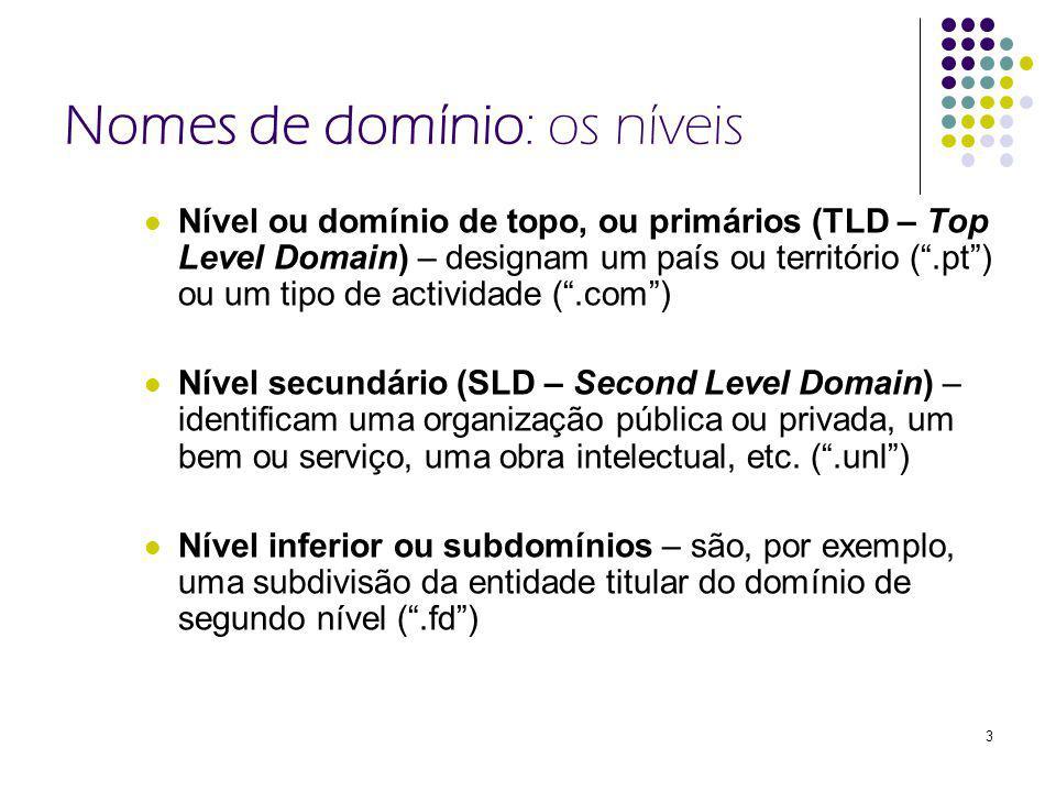 3 Nomes de domínio: os níveis Nível ou domínio de topo, ou primários (TLD – Top Level Domain) – designam um país ou território (.pt) ou um tipo de actividade (.com) Nível secundário (SLD – Second Level Domain) – identificam uma organização pública ou privada, um bem ou serviço, uma obra intelectual, etc.