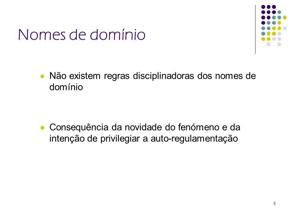 5 Nomes de domínio Não existem regras disciplinadoras dos nomes de domínio Consequência da novidade do fenómeno e da intenção de privilegiar a auto-regulamentação