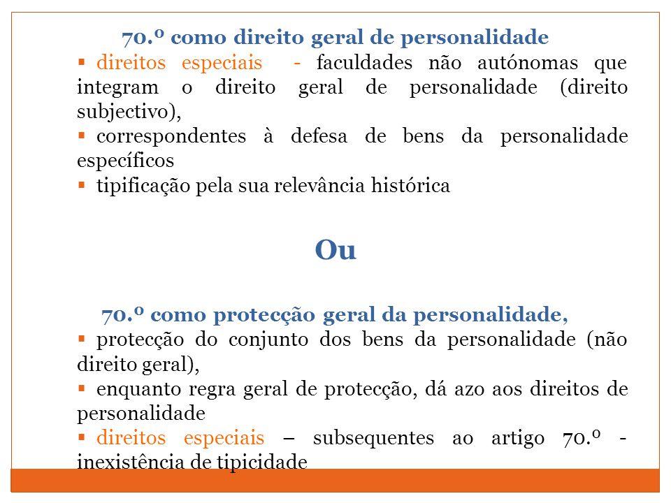70.º como direito geral de personalidade direitos especiais - faculdades não autónomas que integram o direito geral de personalidade (direito subjecti