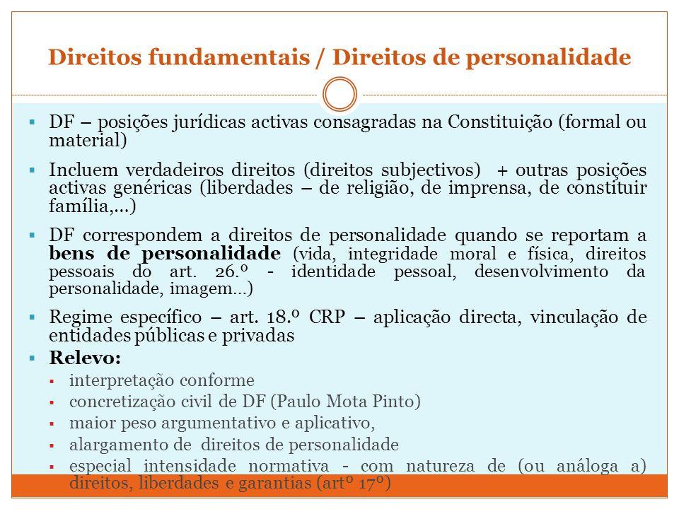 Direitos fundamentais / Direitos de personalidade DF – posições jurídicas activas consagradas na Constituição (formal ou material) Incluem verdadeiros