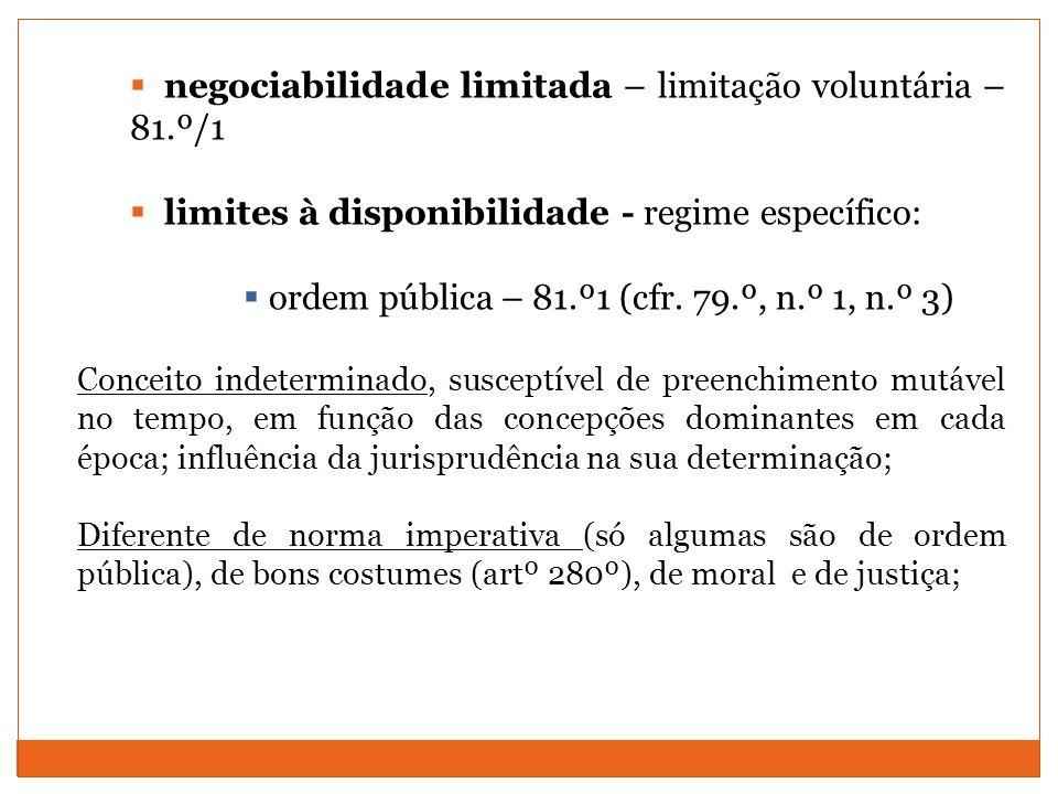 negociabilidade limitada – limitação voluntária – 81.º/1 limites à disponibilidade - regime específico: ordem pública – 81.º1 (cfr. 79.º, n.º 1, n.º 3