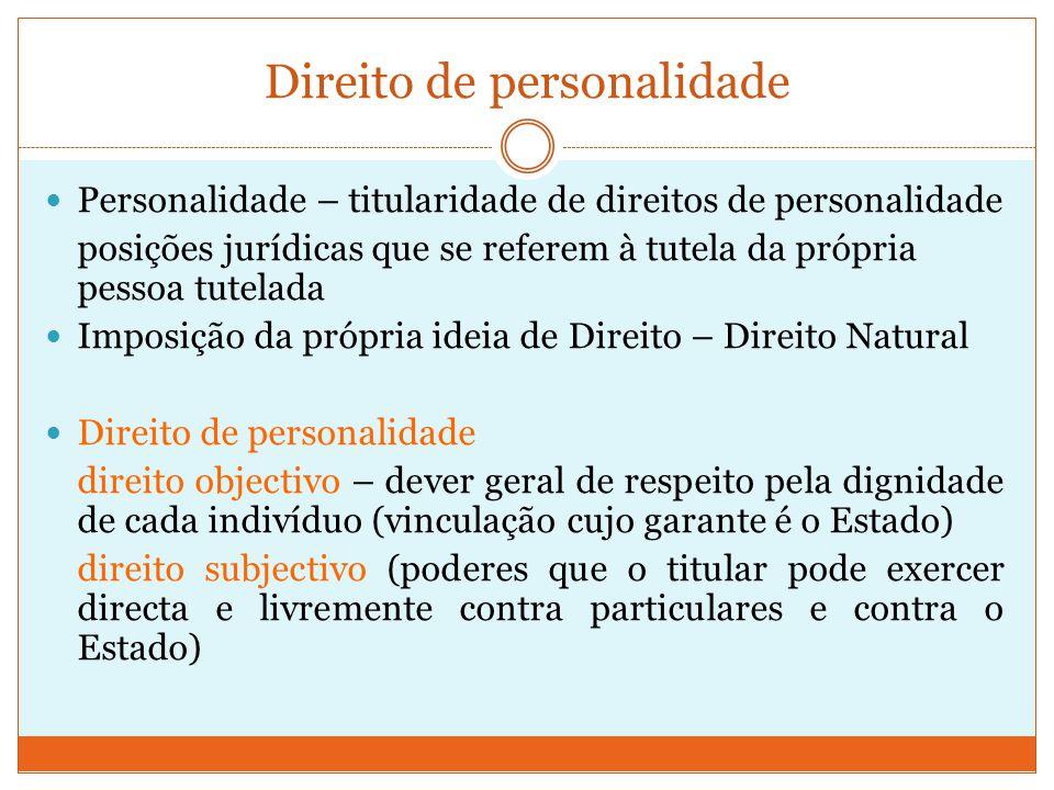 Direito de personalidade Personalidade – titularidade de direitos de personalidade posições jurídicas que se referem à tutela da própria pessoa tutela
