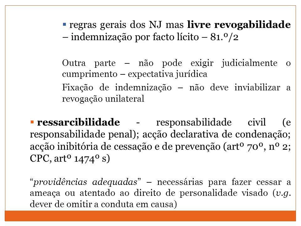 regras gerais dos NJ mas livre revogabilidade – indemnização por facto lícito – 81.º/2 Outra parte – não pode exigir judicialmente o cumprimento – exp