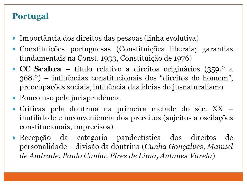 Portugal Importância dos direitos das pessoas (linha evolutiva) Constituições portuguesas (Constituições liberais; garantias fundamentais na Const. 19