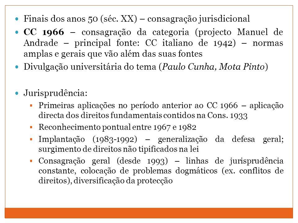 Finais dos anos 50 (séc. XX) – consagração jurisdicional CC 1966 – consagração da categoria (projecto Manuel de Andrade – principal fonte: CC italiano