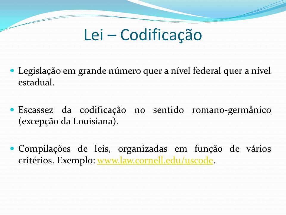 Lei – Codificação Legislação em grande número quer a nível federal quer a nível estadual. Escassez da codificação no sentido romano-germânico (excepçã
