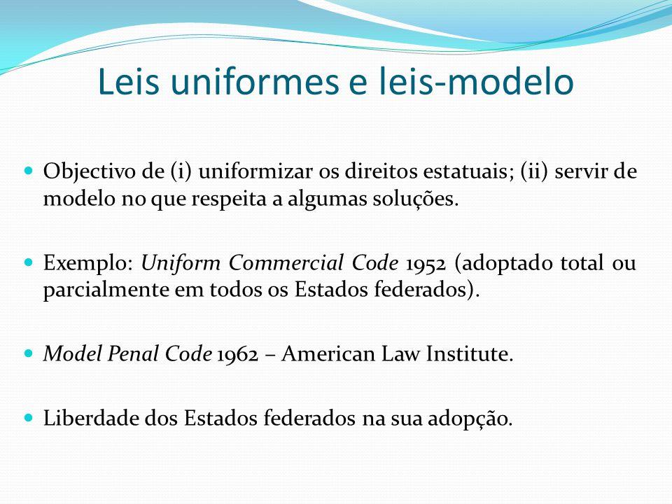 Leis uniformes e leis-modelo Objectivo de (i) uniformizar os direitos estatuais; (ii) servir de modelo no que respeita a algumas soluções. Exemplo: Un