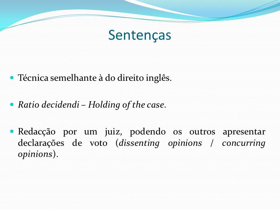 Sentenças Técnica semelhante à do direito inglês. Ratio decidendi – Holding of the case. Redacção por um juiz, podendo os outros apresentar declaraçõe