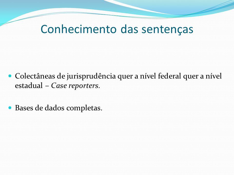 Conhecimento das sentenças Colectâneas de jurisprudência quer a nível federal quer a nível estadual – Case reporters. Bases de dados completas.