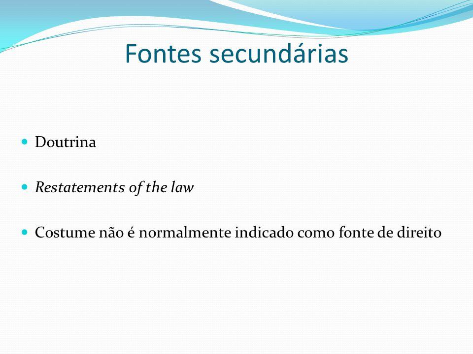 Fontes secundárias Doutrina Restatements of the law Costume não é normalmente indicado como fonte de direito