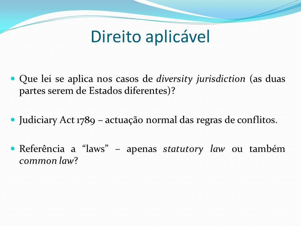 Direito aplicável Que lei se aplica nos casos de diversity jurisdiction (as duas partes serem de Estados diferentes)? Judiciary Act 1789 – actuação no