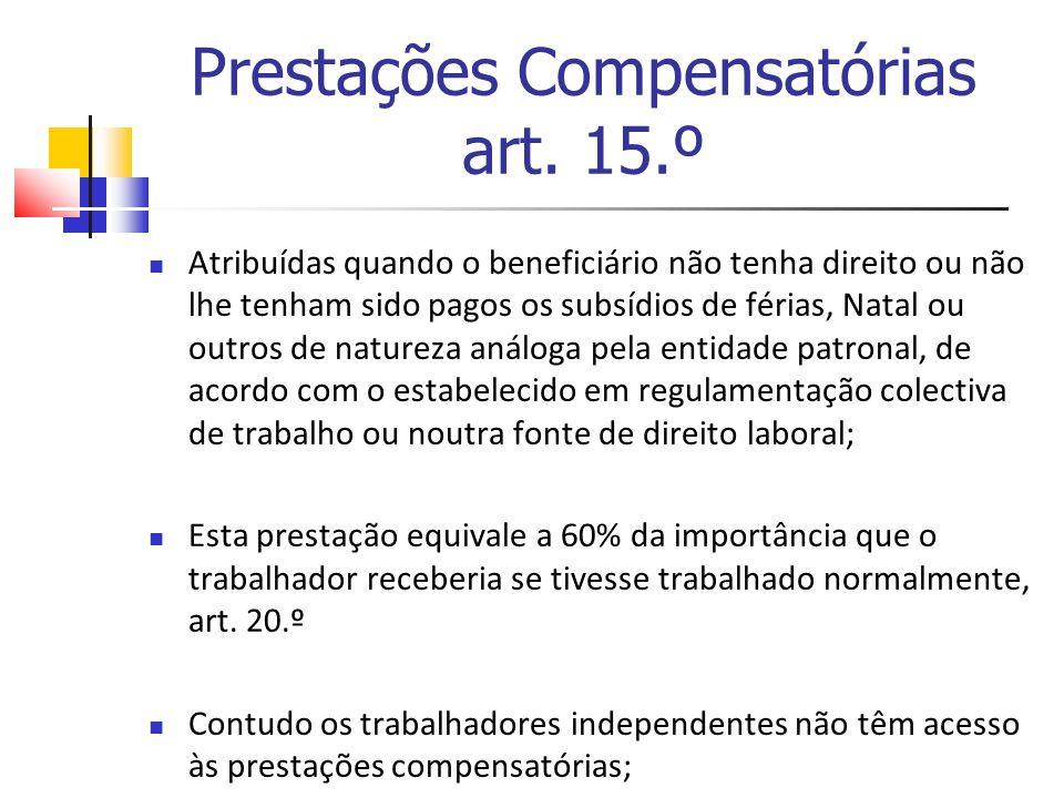 Prestações Compensatórias art. 15.º Atribuídas quando o beneficiário não tenha direito ou não lhe tenham sido pagos os subsídios de férias, Natal ou o