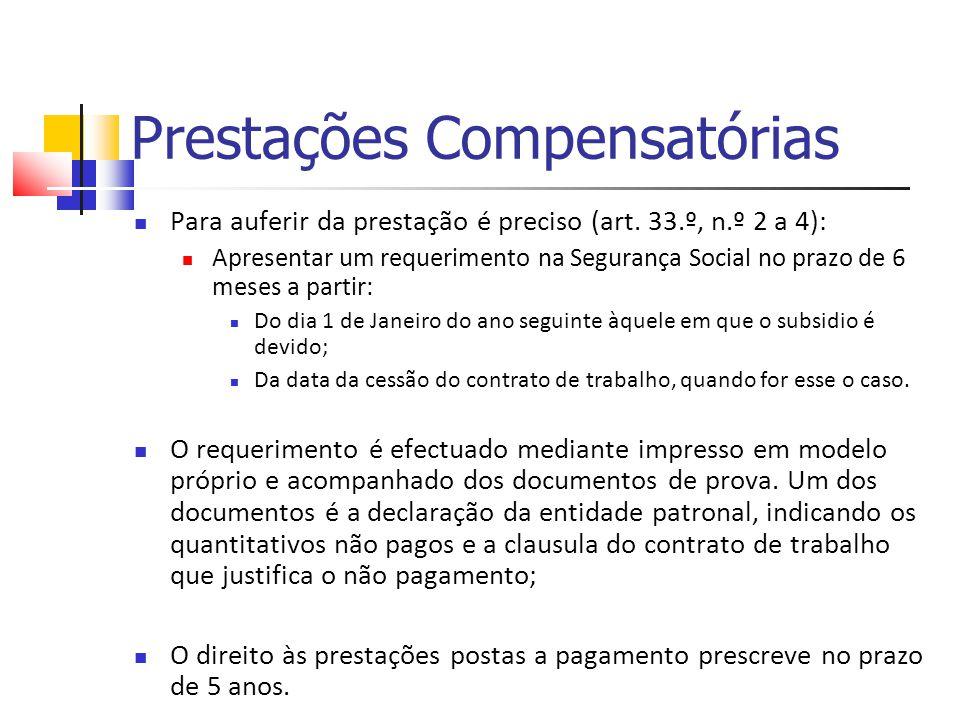 Prestações Compensatórias Para auferir da prestação é preciso (art. 33.º, n.º 2 a 4): Apresentar um requerimento na Segurança Social no prazo de 6 mes