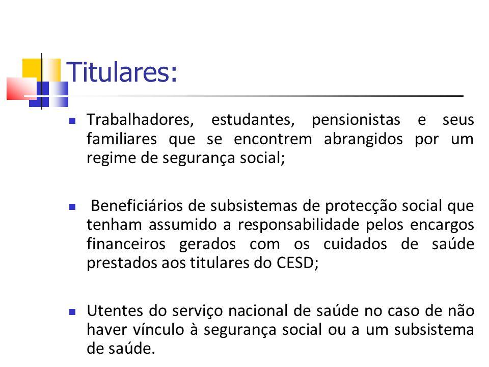Titulares: Trabalhadores, estudantes, pensionistas e seus familiares que se encontrem abrangidos por um regime de segurança social; Beneficiários de s
