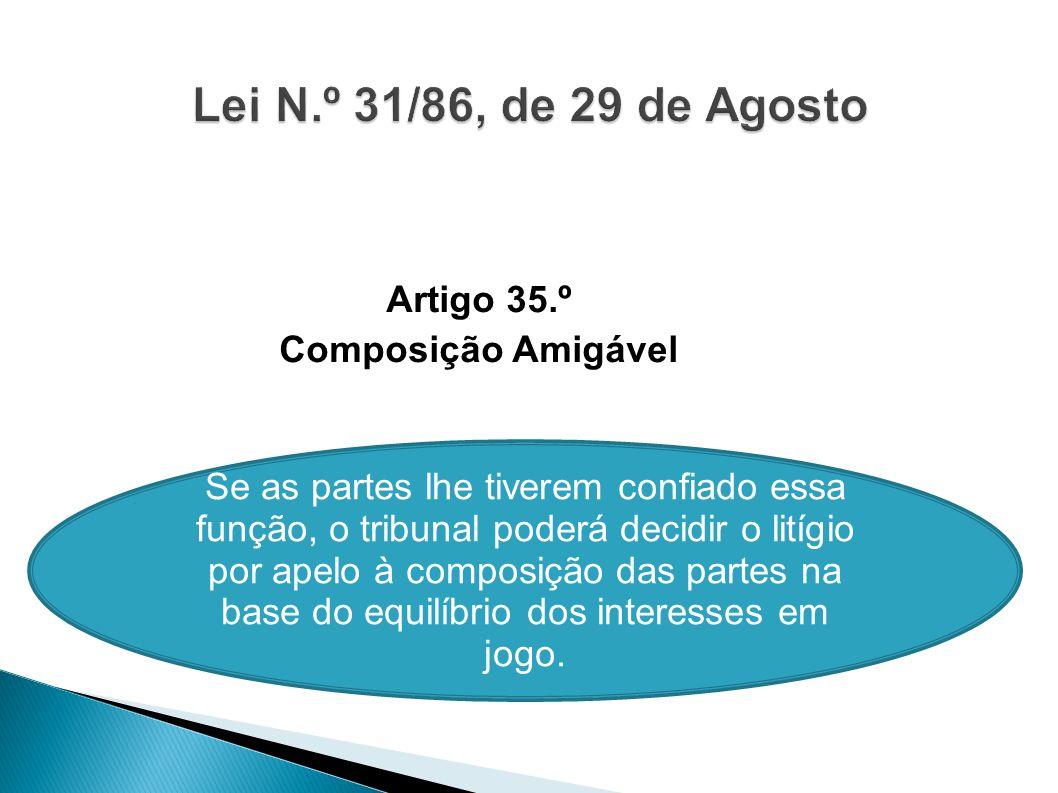 Artigo 35.º Composição Amigável Se as partes lhe tiverem confiado essa função, o tribunal poderá decidir o litígio por apelo à composição das partes n