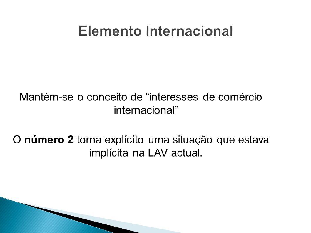 Mantém-se o conceito de interesses de comércio internacional O número 2 torna explícito uma situação que estava implícita na LAV actual.