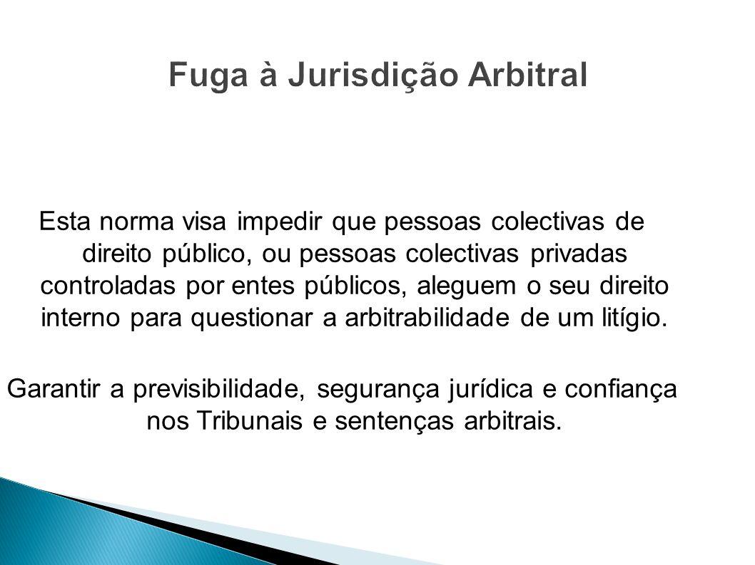 Esta norma visa impedir que pessoas colectivas de direito público, ou pessoas colectivas privadas controladas por entes públicos, aleguem o seu direit