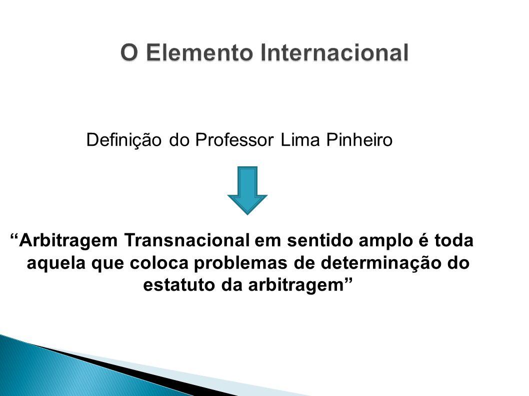 Definição do Professor Lima Pinheiro Arbitragem Transnacional em sentido amplo é toda aquela que coloca problemas de determinação do estatuto da arbit