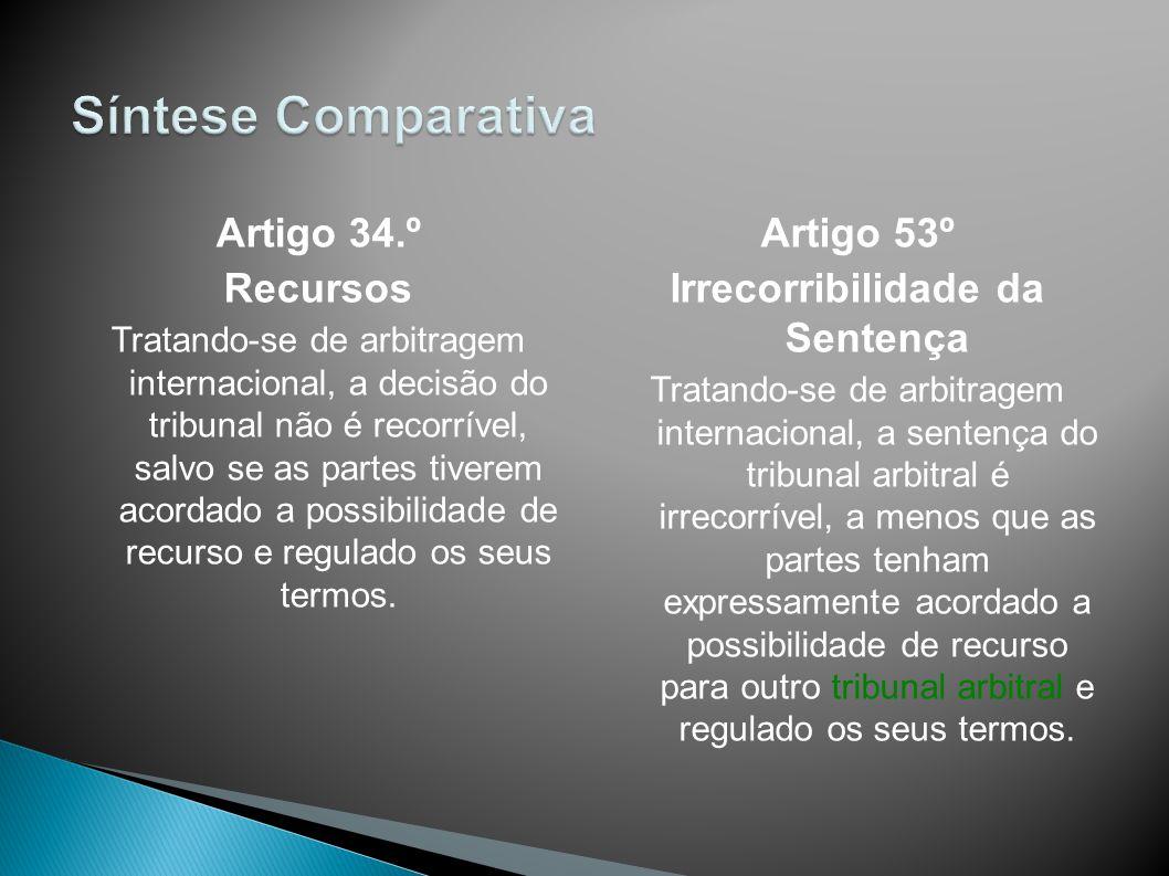 Artigo 34.º Recursos Tratando-se de arbitragem internacional, a decisão do tribunal não é recorrível, salvo se as partes tiverem acordado a possibilid