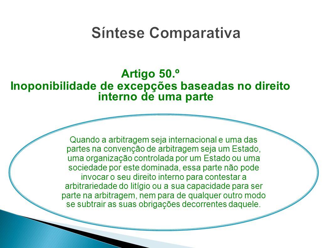 Artigo 50.º Inoponibilidade de excepções baseadas no direito interno de uma parte Quando a arbitragem seja internacional e uma das partes na convenção