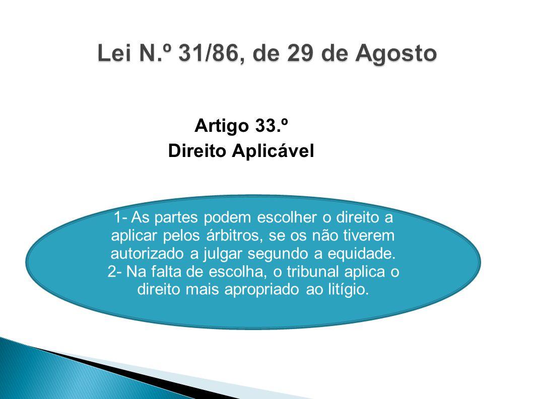 Artigo 33.º Direito Aplicável 1- As partes podem escolher o direito a aplicar pelos árbitros, se os não tiverem autorizado a julgar segundo a equidade