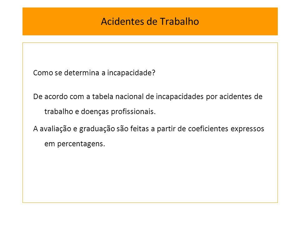 Como se determina a incapacidade? De acordo com a tabela nacional de incapacidades por acidentes de trabalho e doenças profissionais. A avaliação e gr