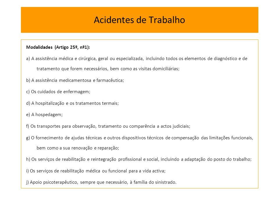 Modalidades (Artigo 25º, nº1): a) A assistência médica e cirúrgica, geral ou especializada, incluindo todos os elementos de diagnóstico e de tratament