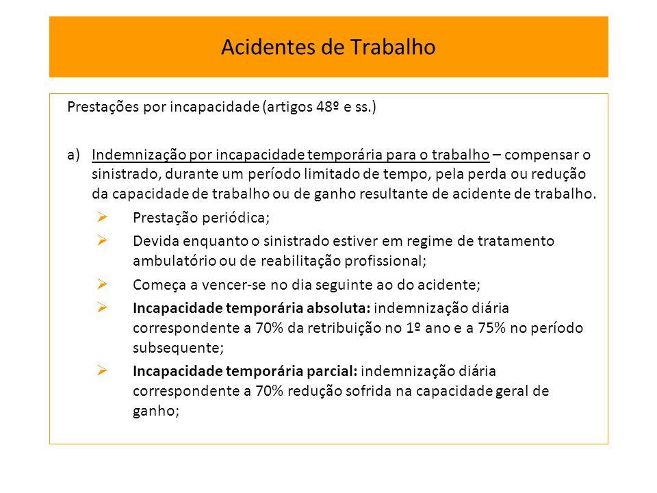 Prestações por incapacidade (artigos 48º e ss.) a)Indemnização por incapacidade temporária para o trabalho – compensar o sinistrado, durante um períod