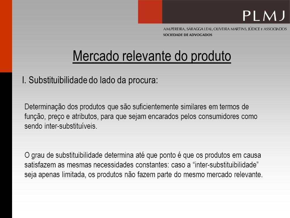 Mercado relevante do produto Determinação dos produtos que são suficientemente similares em termos de função, preço e atributos, para que sejam encarados pelos consumidores como sendo inter-substituíveis.