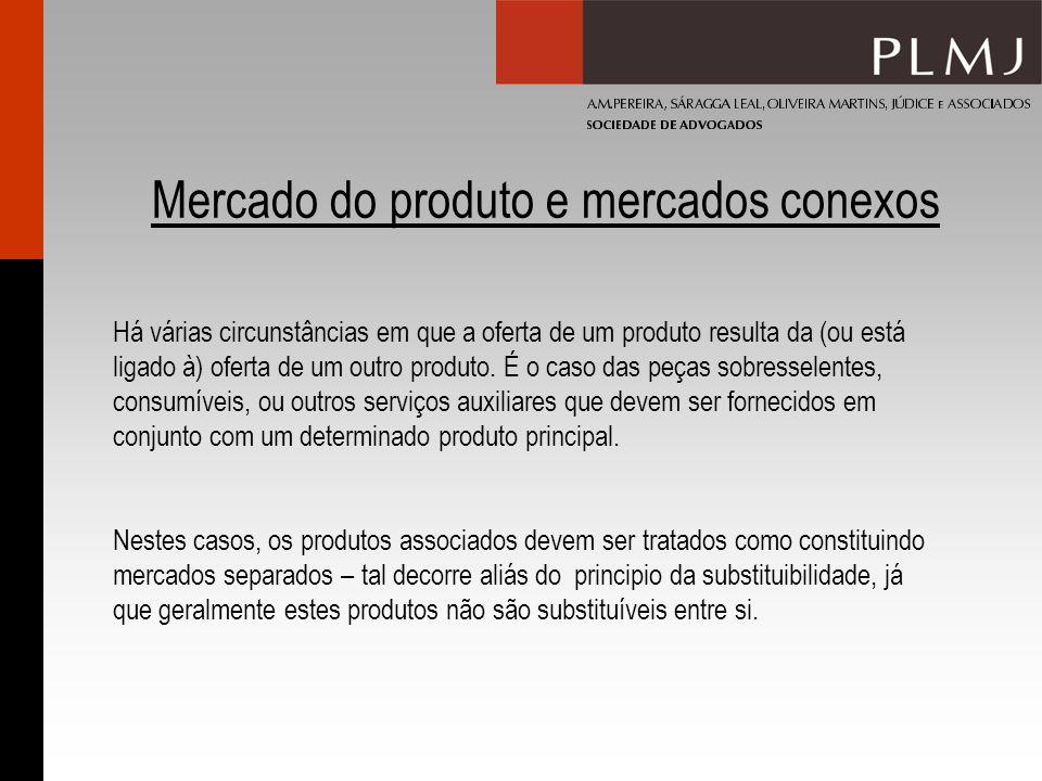 Mercado do produto e mercados conexos Há várias circunstâncias em que a oferta de um produto resulta da (ou está ligado à) oferta de um outro produto.