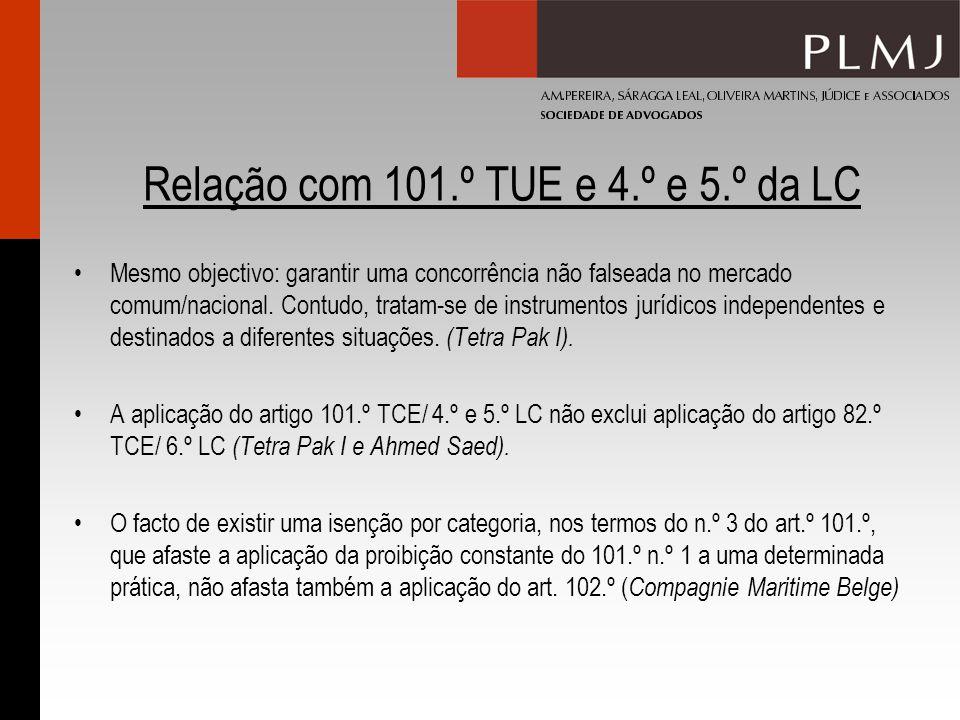 Relação com 101.º TUE e 4.º e 5.º da LC Mesmo objectivo: garantir uma concorrência não falseada no mercado comum/nacional.