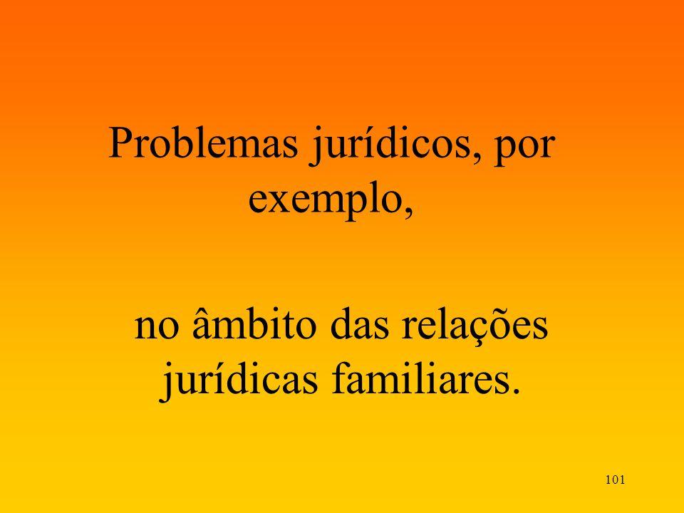 101 Problemas jurídicos, por exemplo, no âmbito das relações jurídicas familiares.