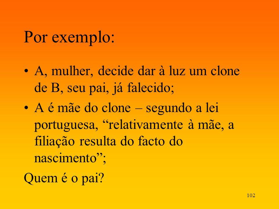 102 Por exemplo: A, mulher, decide dar à luz um clone de B, seu pai, já falecido; A é mãe do clone – segundo a lei portuguesa, relativamente à mãe, a