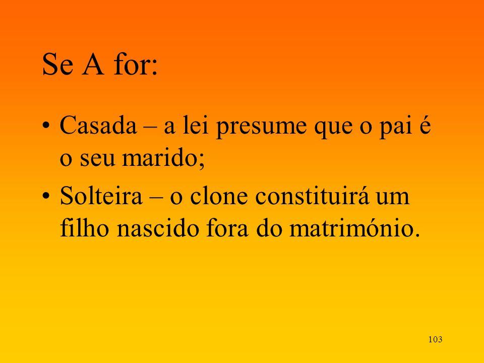103 Se A for: Casada – a lei presume que o pai é o seu marido; Solteira – o clone constituirá um filho nascido fora do matrimónio.