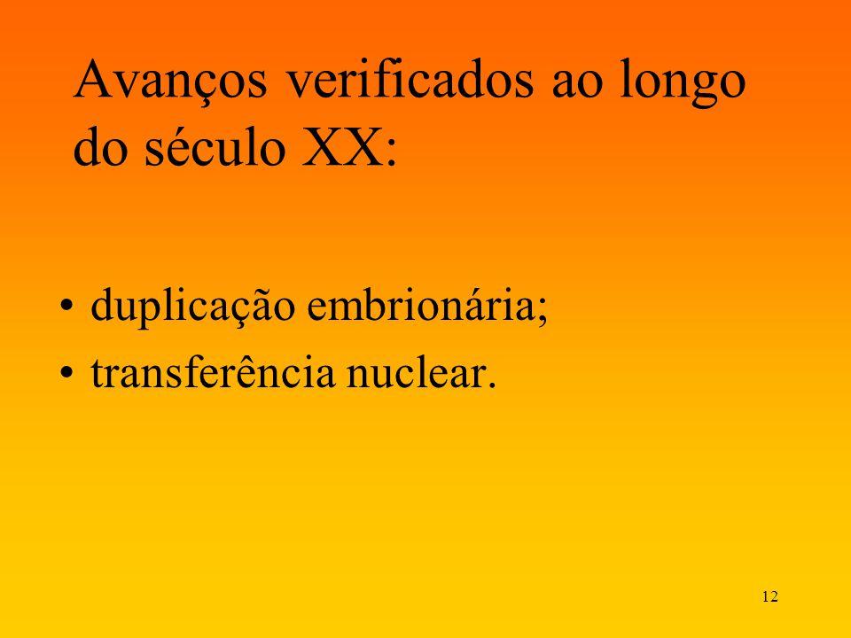 12 Avanços verificados ao longo do século XX: duplicação embrionária; transferência nuclear.