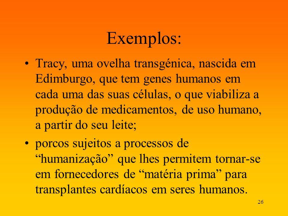 26 Exemplos: Tracy, uma ovelha transgénica, nascida em Edimburgo, que tem genes humanos em cada uma das suas células, o que viabiliza a produção de me