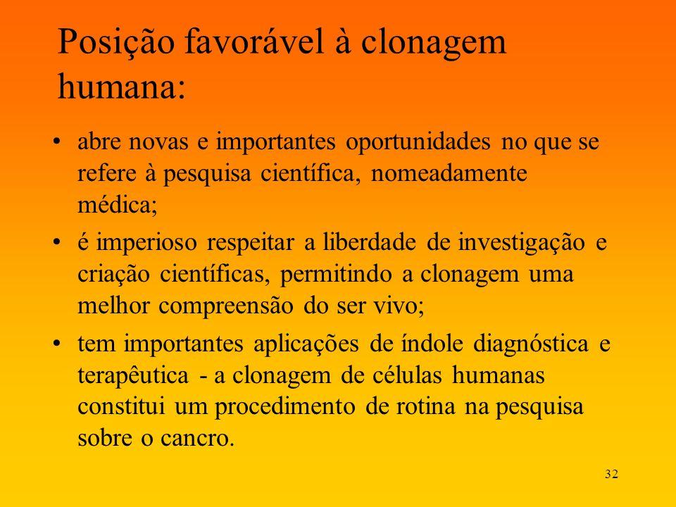 32 Posição favorável à clonagem humana: abre novas e importantes oportunidades no que se refere à pesquisa científica, nomeadamente médica; é imperios