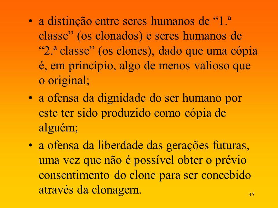 45 a distinção entre seres humanos de 1.ª classe (os clonados) e seres humanos de 2.ª classe (os clones), dado que uma cópia é, em princípio, algo de
