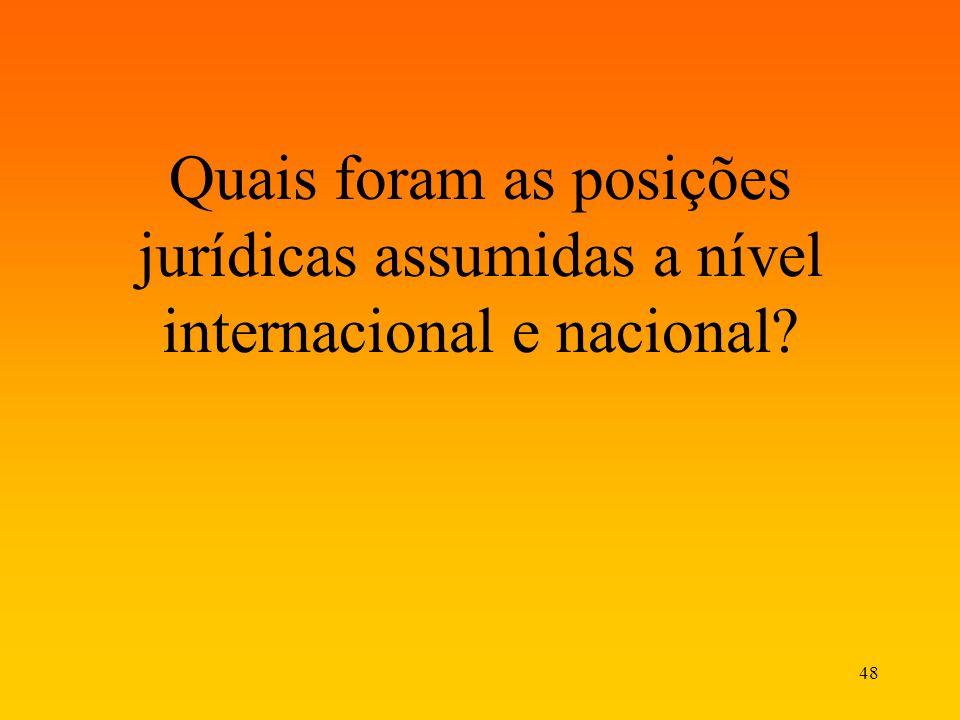 48 Quais foram as posições jurídicas assumidas a nível internacional e nacional?