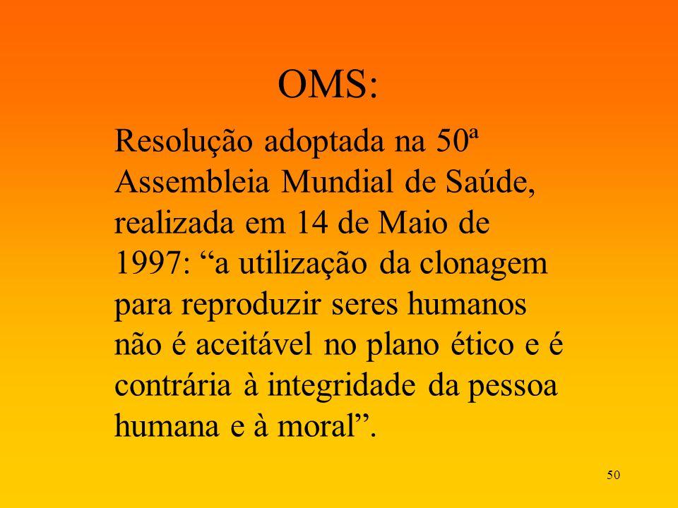 50 OMS: Resolução adoptada na 50ª Assembleia Mundial de Saúde, realizada em 14 de Maio de 1997: a utilização da clonagem para reproduzir seres humanos