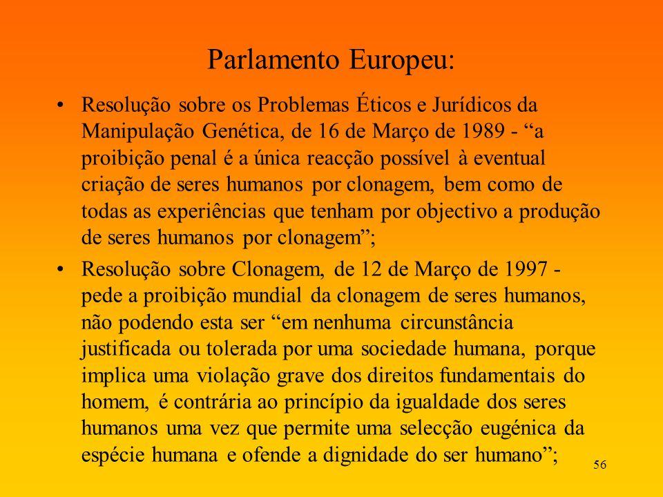 56 Parlamento Europeu: Resolução sobre os Problemas Éticos e Jurídicos da Manipulação Genética, de 16 de Março de 1989 - a proibição penal é a única r