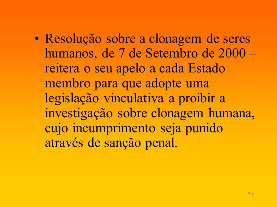 57 Resolução sobre a clonagem de seres humanos, de 7 de Setembro de 2000 – reitera o seu apelo a cada Estado membro para que adopte uma legislação vin
