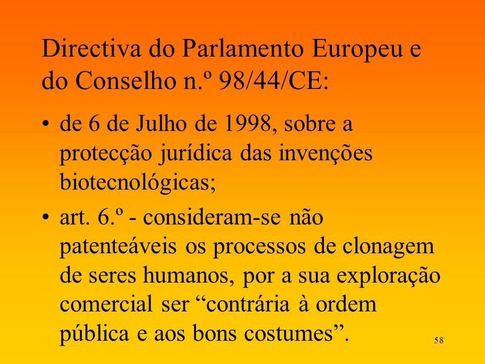58 Directiva do Parlamento Europeu e do Conselho n.º 98/44/CE: de 6 de Julho de 1998, sobre a protecção jurídica das invenções biotecnológicas; art. 6