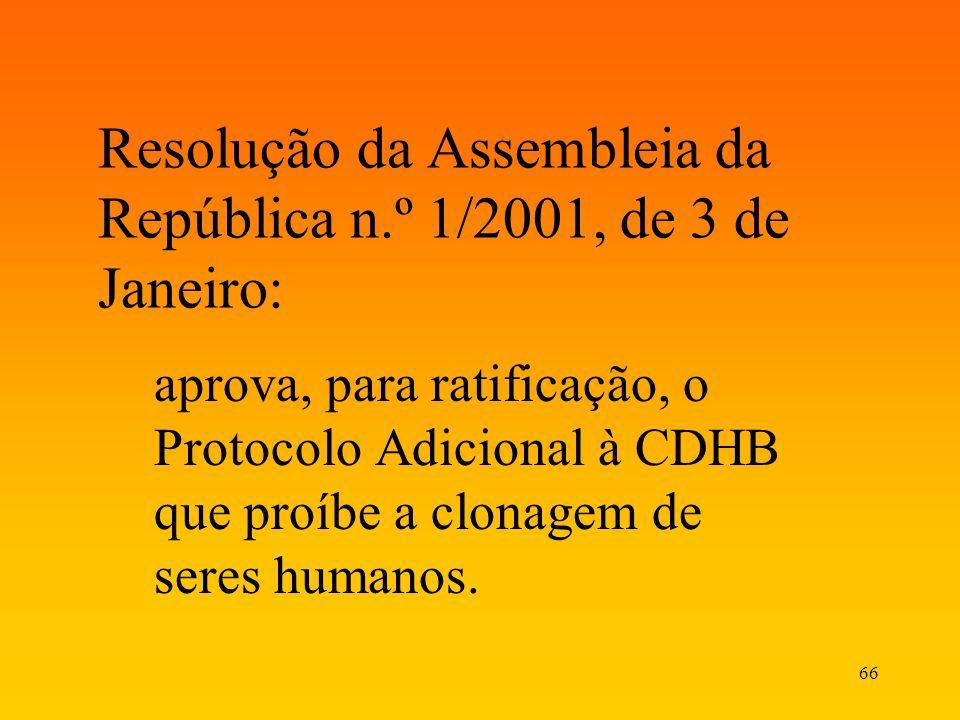 66 Resolução da Assembleia da República n.º 1/2001, de 3 de Janeiro: aprova, para ratificação, o Protocolo Adicional à CDHB que proíbe a clonagem de s