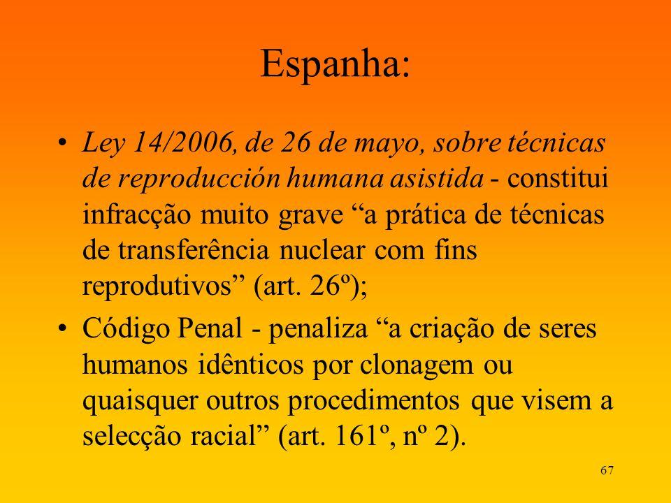 67 Espanha: Ley 14/2006, de 26 de mayo, sobre técnicas de reproducción humana asistida - constitui infracção muito grave a prática de técnicas de tran