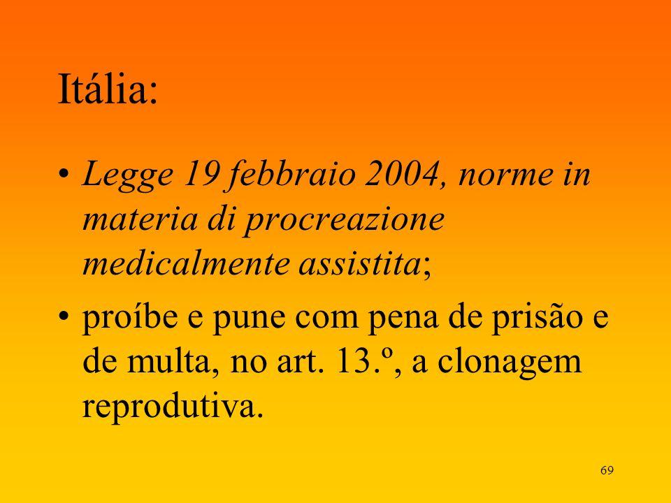 69 Itália: Legge 19 febbraio 2004, norme in materia di procreazione medicalmente assistita; proíbe e pune com pena de prisão e de multa, no art. 13.º,