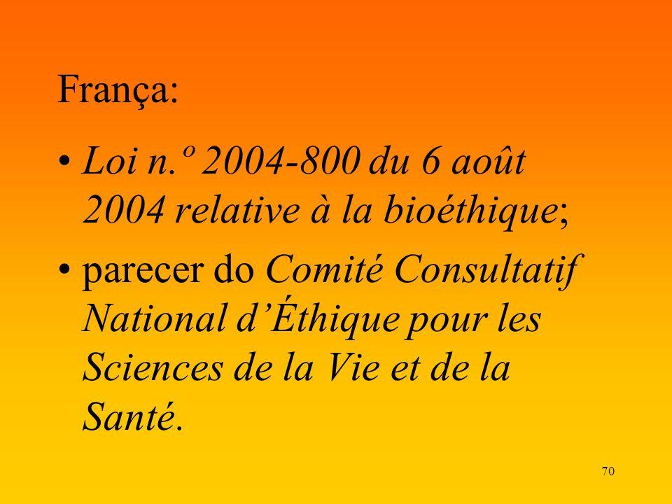 70 França: Loi n.º 2004-800 du 6 août 2004 relative à la bioéthique; parecer do Comité Consultatif National dÉthique pour les Sciences de la Vie et de