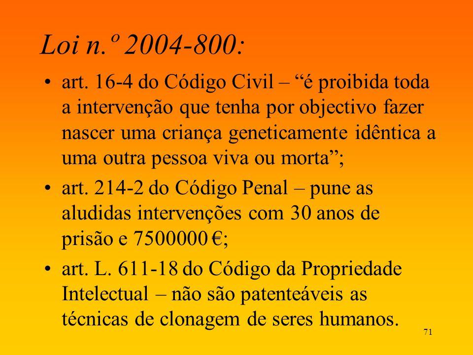 71 Loi n.º 2004-800: art. 16-4 do Código Civil – é proibida toda a intervenção que tenha por objectivo fazer nascer uma criança geneticamente idêntica