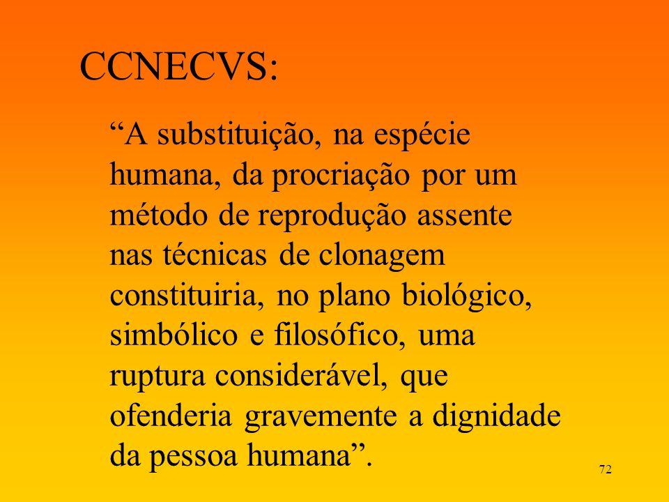72 CCNECVS: A substituição, na espécie humana, da procriação por um método de reprodução assente nas técnicas de clonagem constituiria, no plano bioló